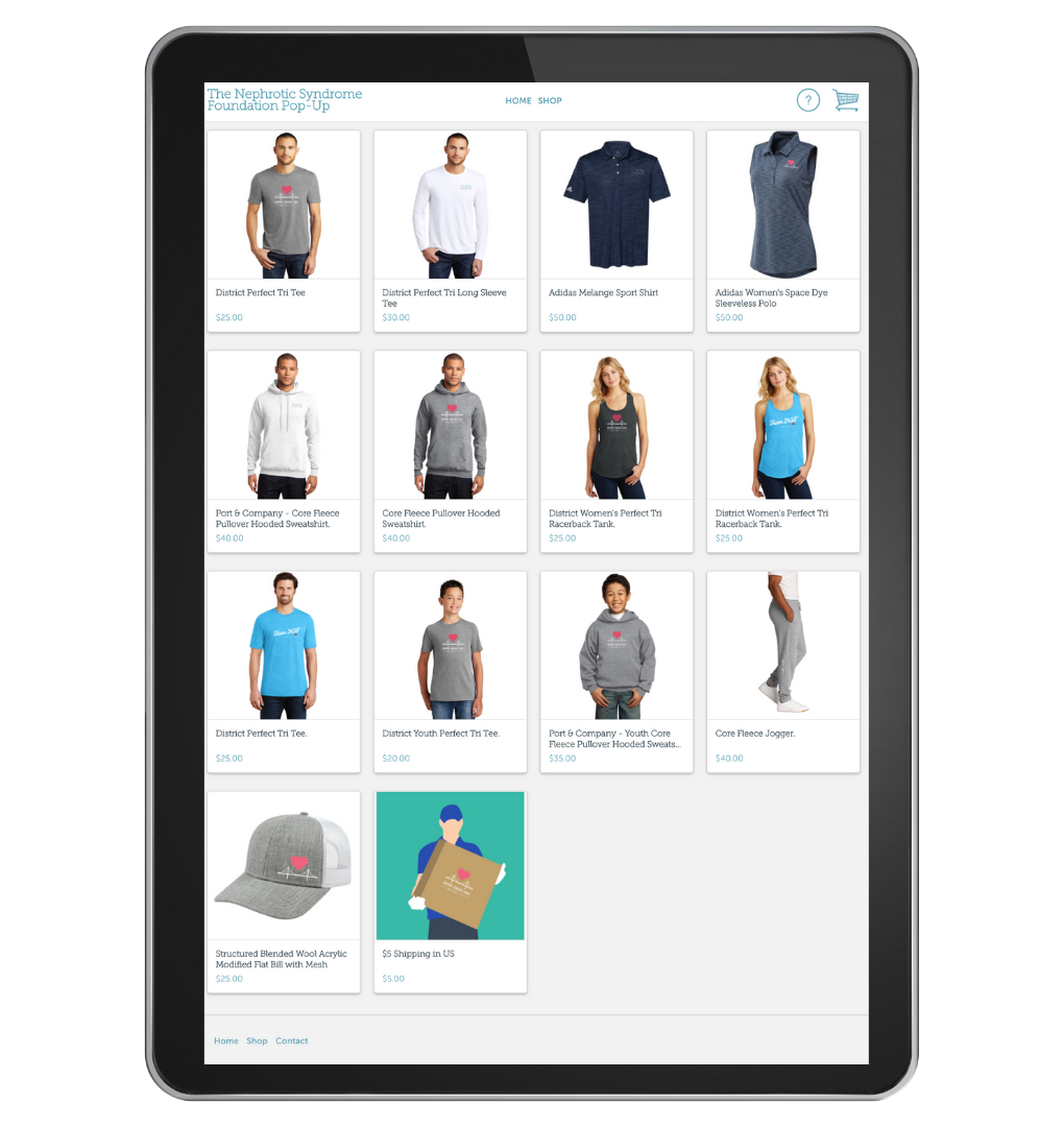 Pop-Up Shop store view on device