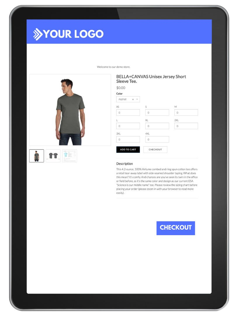 Online Store example close up shot on tablet